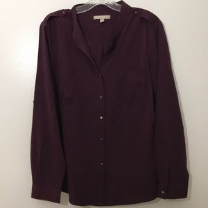 Banana Republic Wine Button Up Shirt Epaulets Sz L